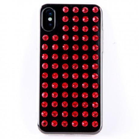 Силиконовый чехол со стразами красного цвета для iPhone X