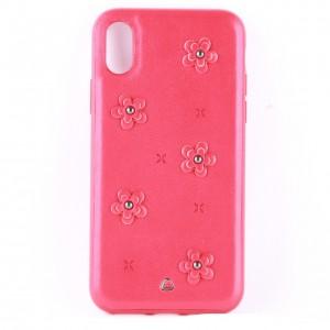 Кожаный чехол красный с узорами в виде цветов для iPhone X