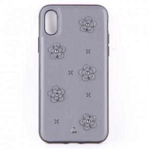 Кожаный чехол серый с узорами в виде цветов для iPhone X