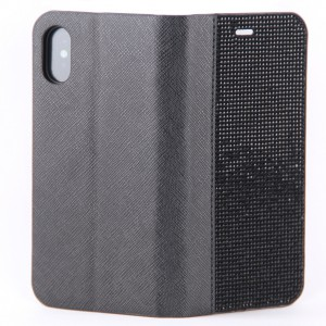 Чехол чёрная кожаная книжка со стразами(ровные) для iPhone X
