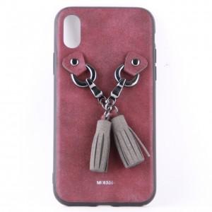 """Тканевый чехол накладка """"Mokfi"""" бордового цвета с кисточками для iPhone X"""