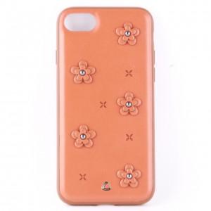 Кожаный чехол оранжевый с узорами в виде цветов для iPhone 7