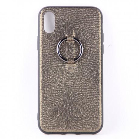 Чехол накладка тканевый серебряного цвета с кольцом для iPhone X