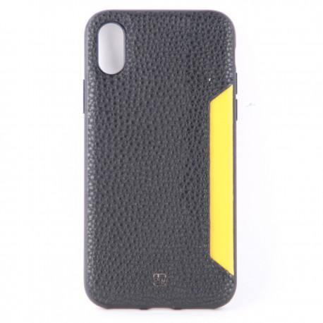 Чехол накладка кожаный с кармашком и жёлтой вставкой для iPhone X